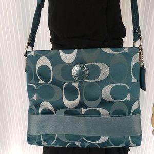 Coach Signature Teal & Silver Crossbody purse